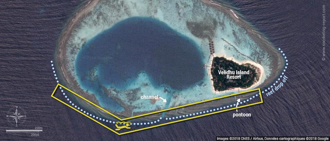 Velidhu Island snorkeling map, Maldives