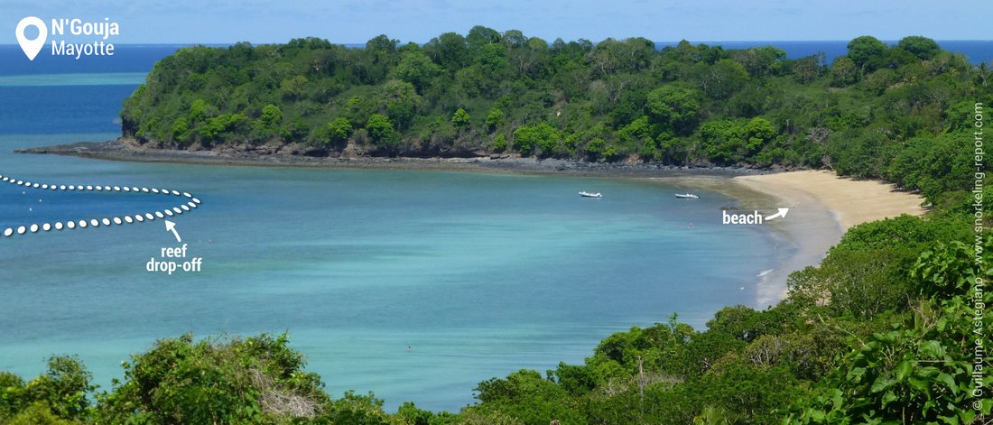 View of N'Gouja Bay snorkeling area, Mayotte