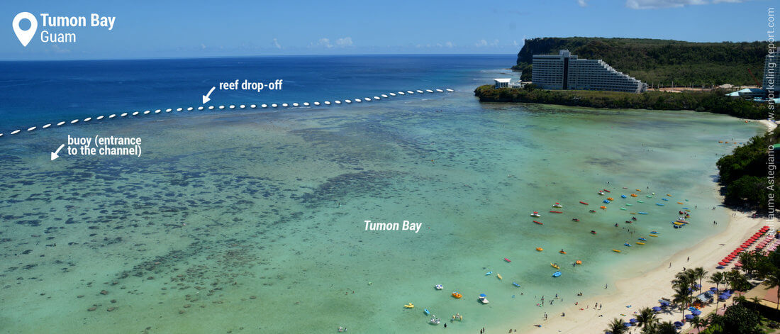 View on Tumon Bay's coral reef, Guam snorkeling