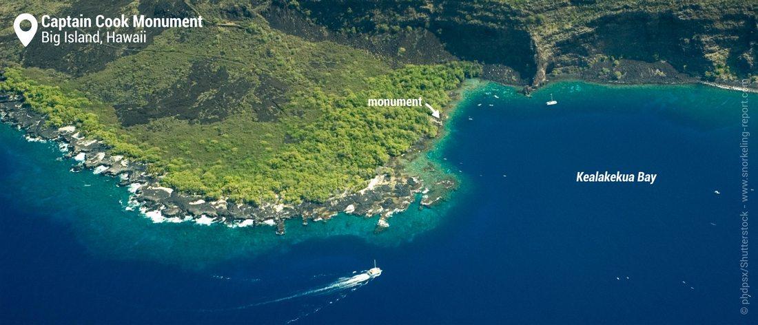 Vue aérienne du spot de snorkeling de Captain Cook Monument