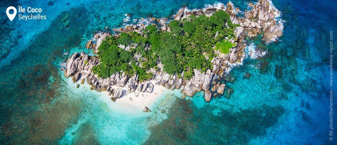 Vue aérienne de l'île Coco, Seychelles