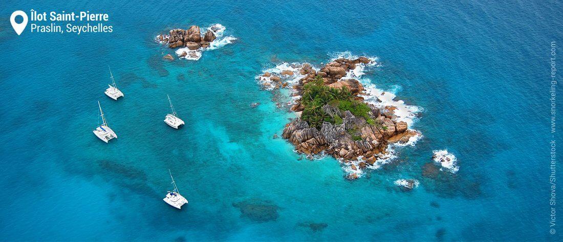 Vue aérienne de l'îlot Saint-Pierre, Seychelles