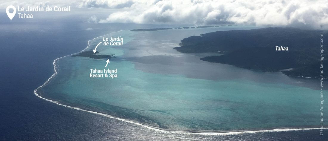Vue aérienne du Jardin de Corail de Tahaa