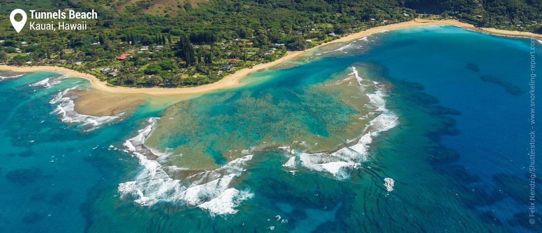 Vue aérienne de Tunnels Beach - Snorkeling à Kauai