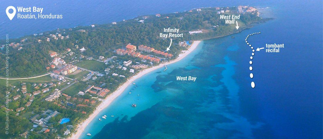 Vue aérienne de la zone de snorkeling de West Bay, Roatan