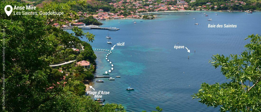 Vue zone de snorkeling de l'Anse Mire, les Saintes