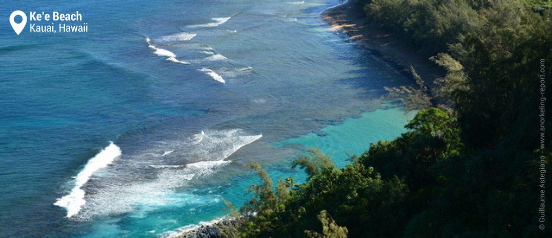 Vue sur le lagon de Ke'e Beach - Snorkeling à Kauai