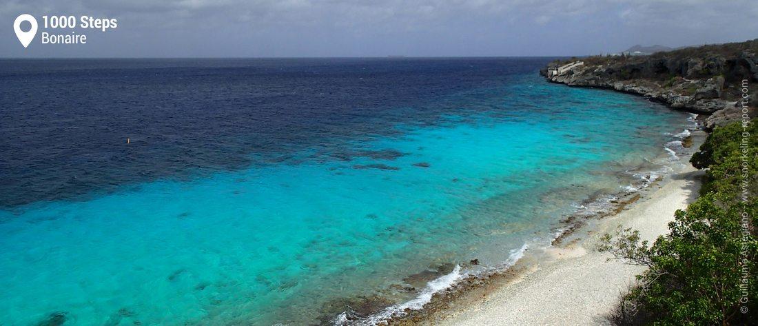 Vue sur la plage de 1000 Steps, Bonaire