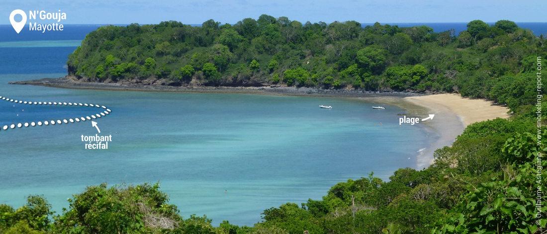 Vue de la zone de snorkeling de la baie de N'Gouja, Mayotte