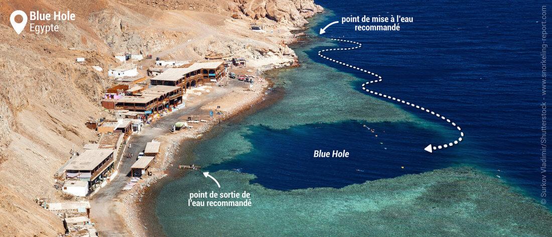 Vue aérienne du spot de snorkeling du Blue Hole, Dahab, Mer Rouge