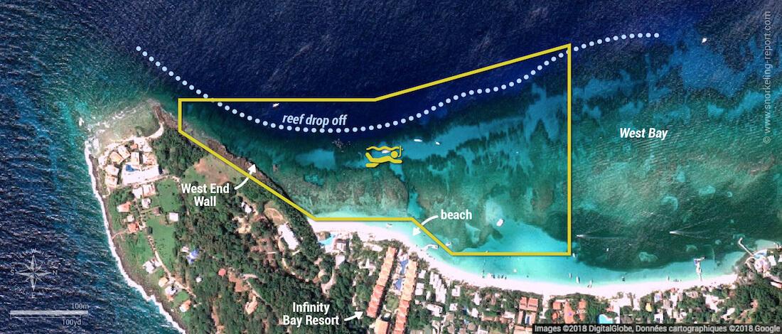 West Bay Roatan snorkeling map