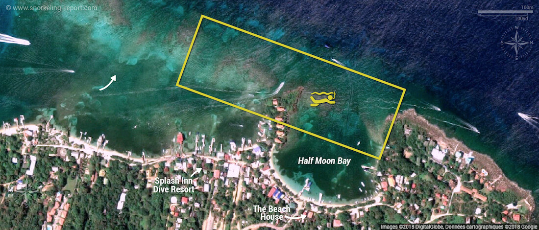 West End Roatan snorkeling map
