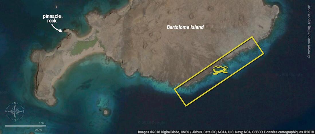 Bartolome Island snorkeling map, Galapagos