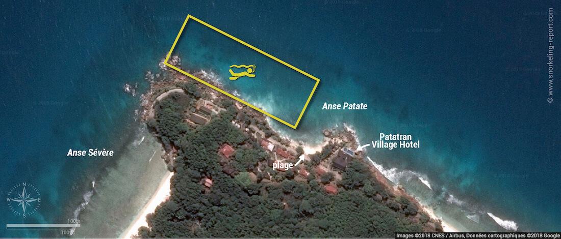 Carte snorkeling à l'Anse Patate