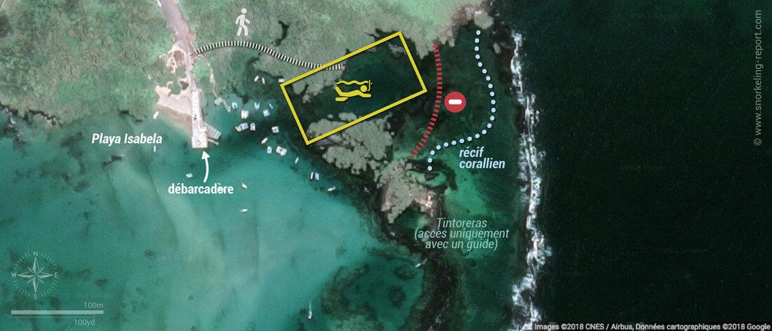 Carte snorkeling à Concha de Perla, Isabela