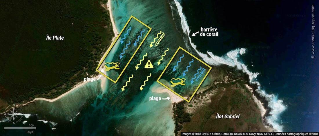Carte snorkeling au îles Plate et Gabriel, Maurice