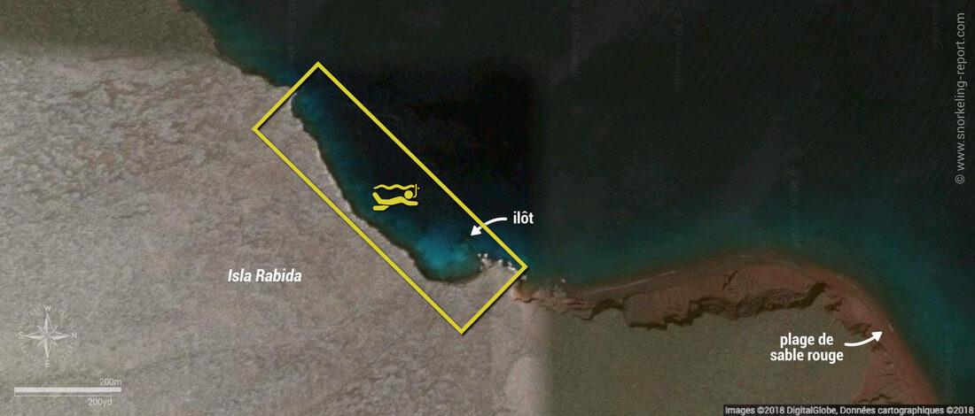 Carte snorkeling à l'île Rabida, Galapagos