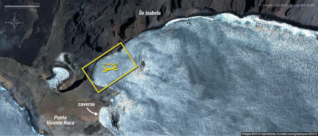 Carte snorkeling à Punta Vicente Roca, Isabela