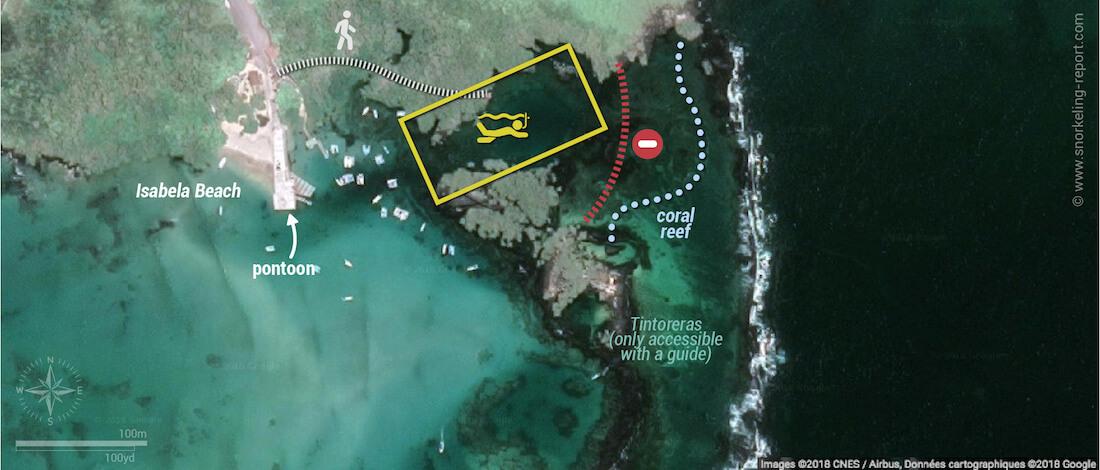Concha de Perla snorkeling map, Isabela