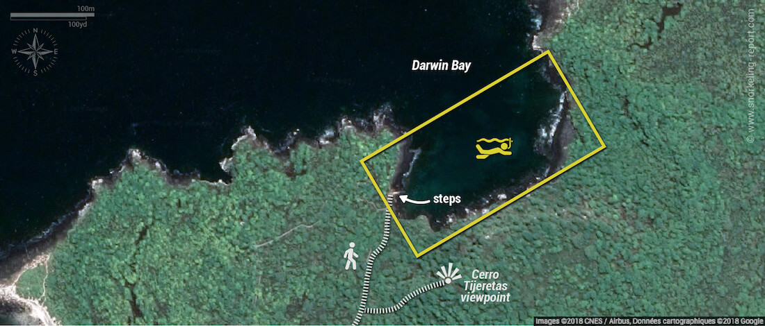 Darwin Bay snorkeling map, San Cristobal