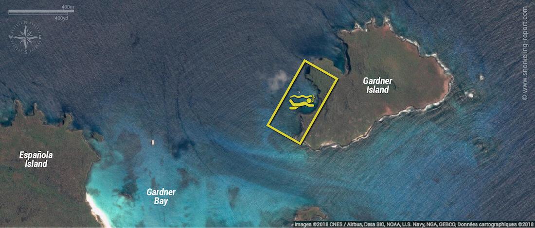 Gardner Island snorkeling map, Galapagos