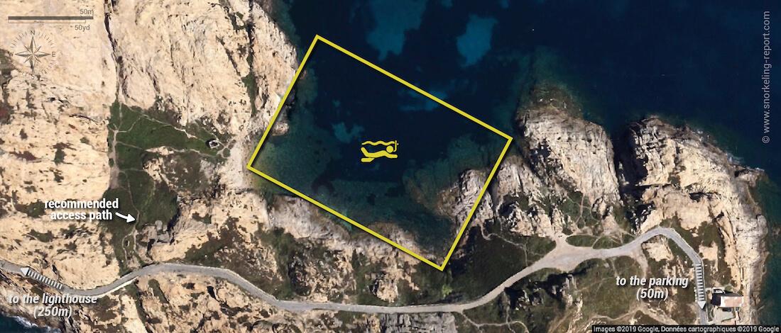 Ile de la Pietra snorkeling map, Ile Rousse