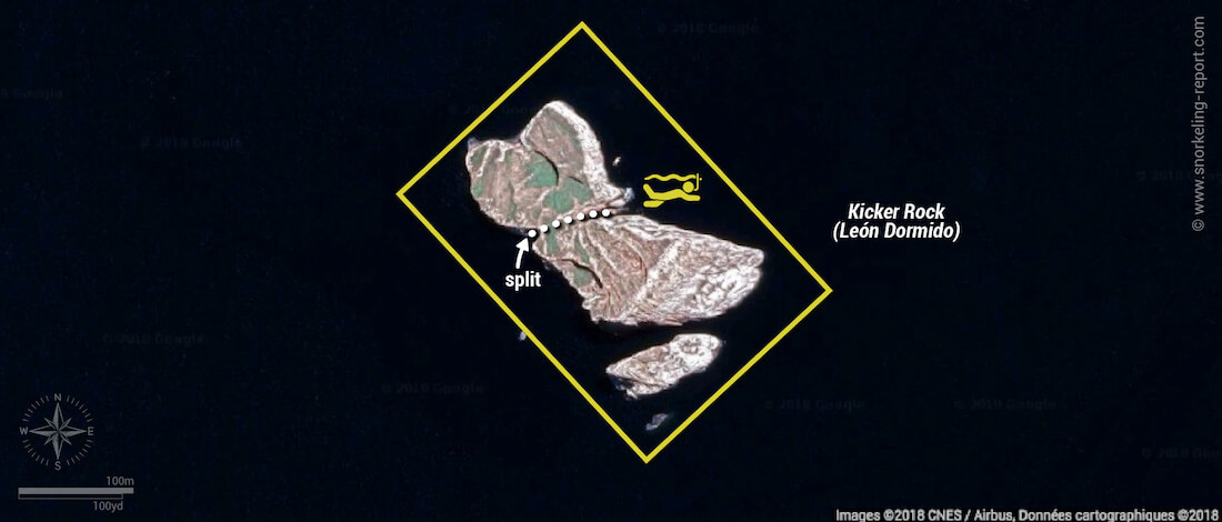 Kicker rock snorkeling map, San Cristobal
