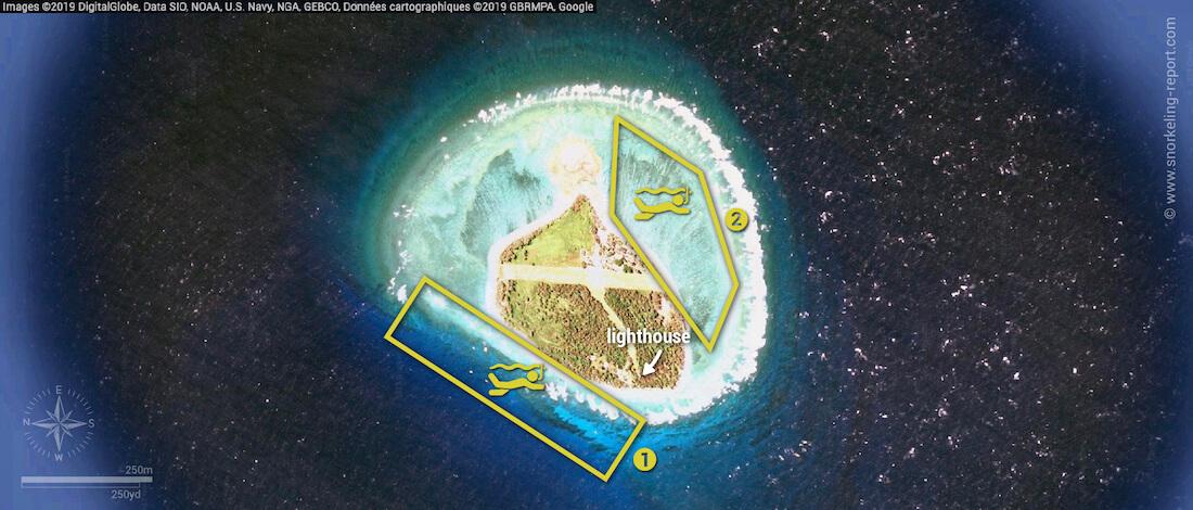 Lady Elliot Island snorkeling map, Great Barrier Reef