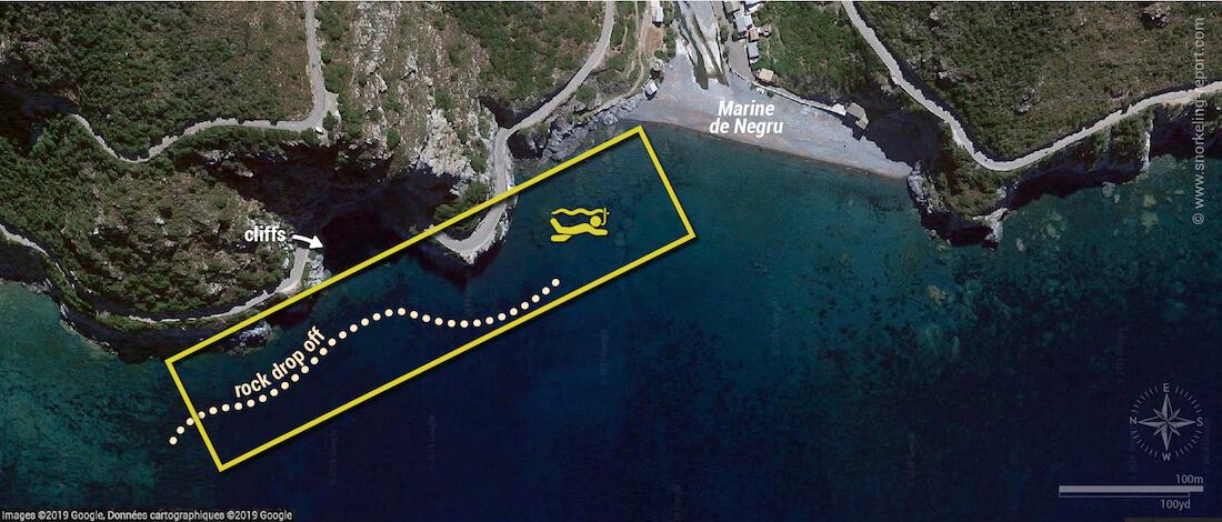 Marine de Negru snorkeling map, Corsica