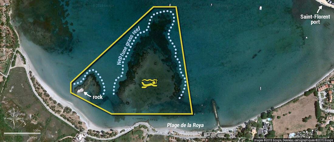 Plage de la Roya snorkeling map, Corsica