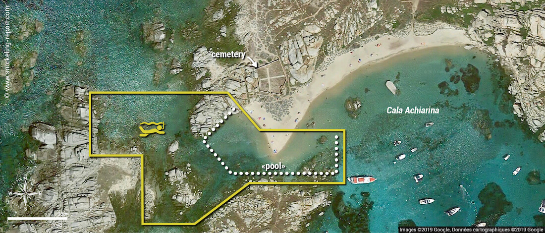 Cala Achiarina snorkeling map, Lavezzi Islands