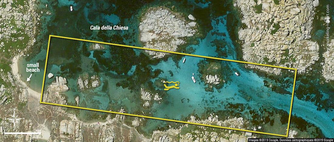 Cala della Chiesa snorkeling map, Lavezzi Islands