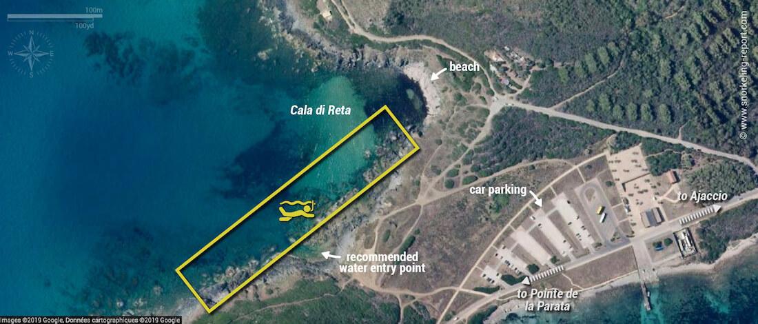 Cala di Reta snorkeling map, Corsica