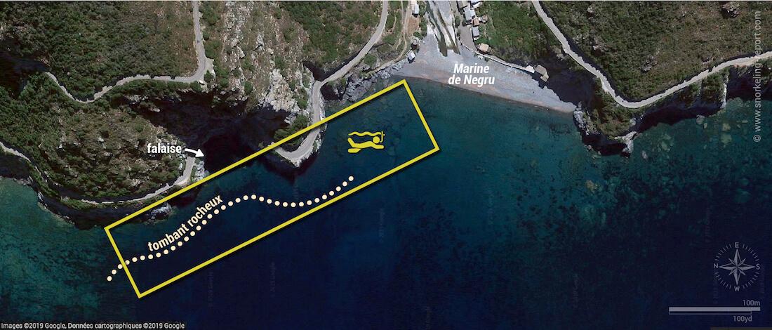 Carte snorkeling à la Marine de Negru, Cap Corse