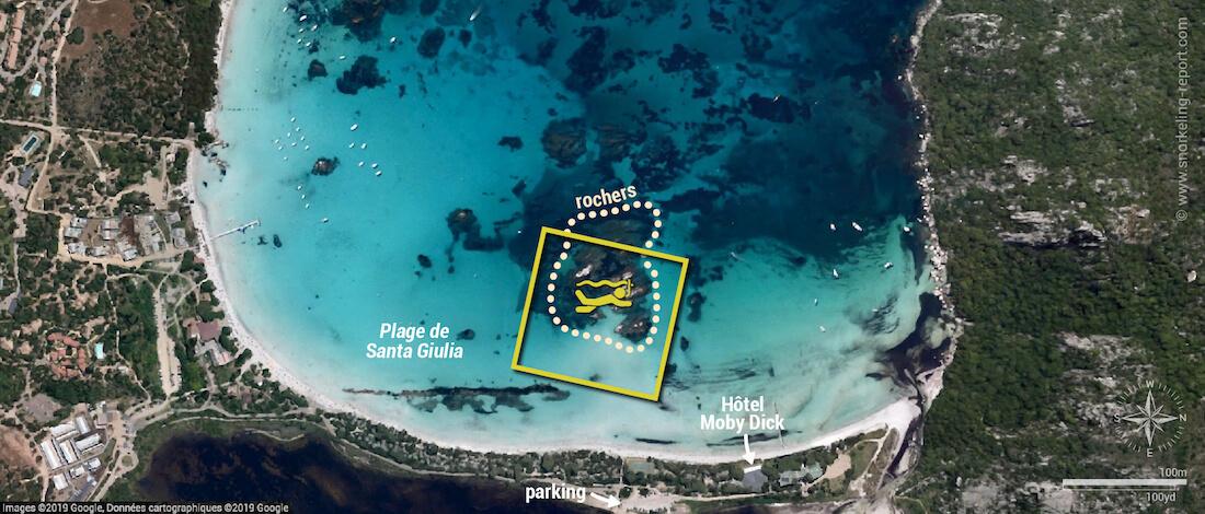 Carte snorkeling à la plage de Santa Giulia, Corse