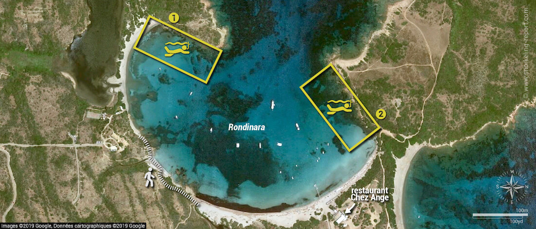 Carte snorkeling à Rondinara, Corse