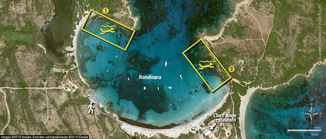 Rondinara snorkeling map