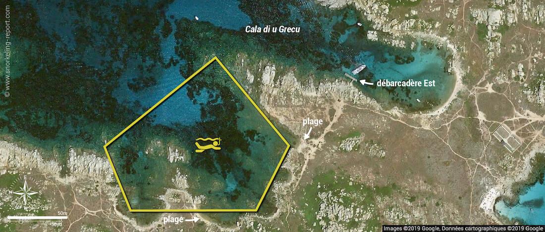 Carte snorkeling à la Cala di u Grecu, Îles Lavezzi