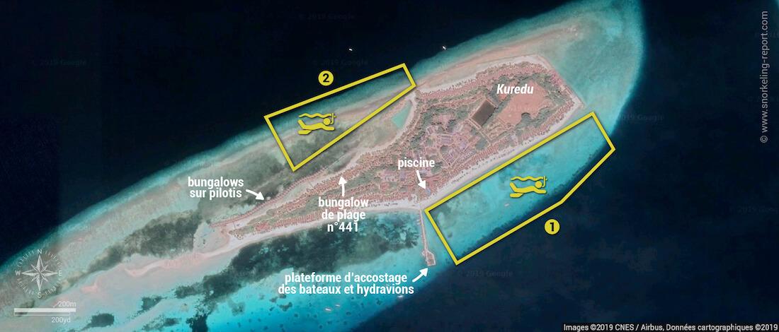Carte snorkeling à Kuredu, Maldives