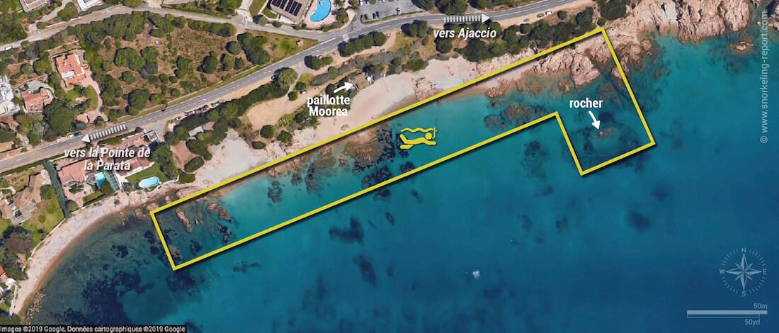 Carte snorkeling à la plage de Moorea, Ajaccio
