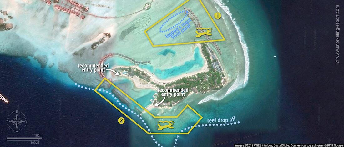 Dhonveli snorkeling map