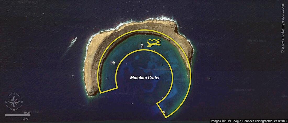 Molokini Crater snorkeling map, Maui