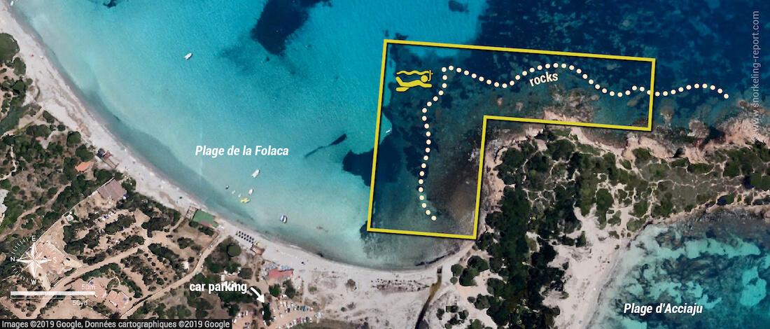 Plage de la Folaca snorkeling map, Corsica