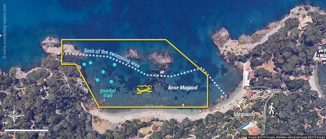 Anse Magaud snorkeling map, La Garde