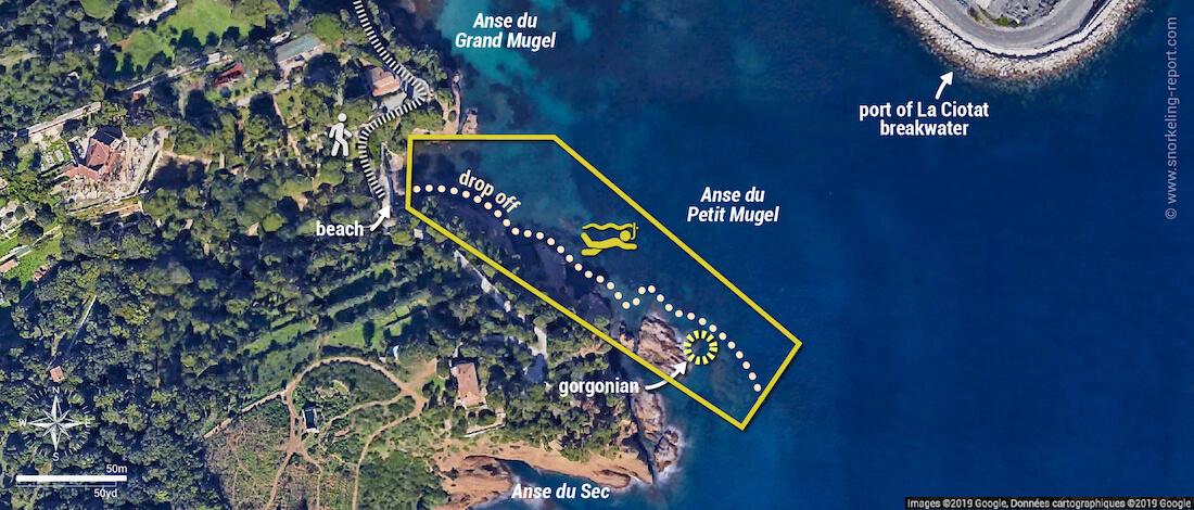 Anse du Petit Mugel snorkeling map, La Ciotat