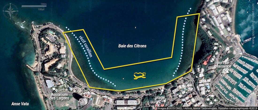 Carte snorkeling à la Baie des Citrons, Nouméa