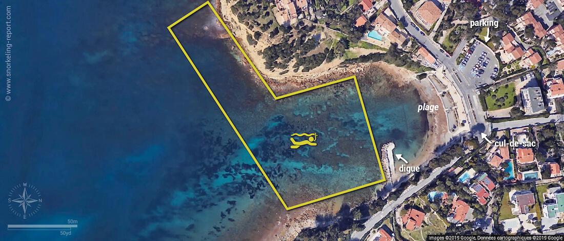 Carte snorkeling à la plage du Cap Rousset, Parc Marin de la Côte Bleue