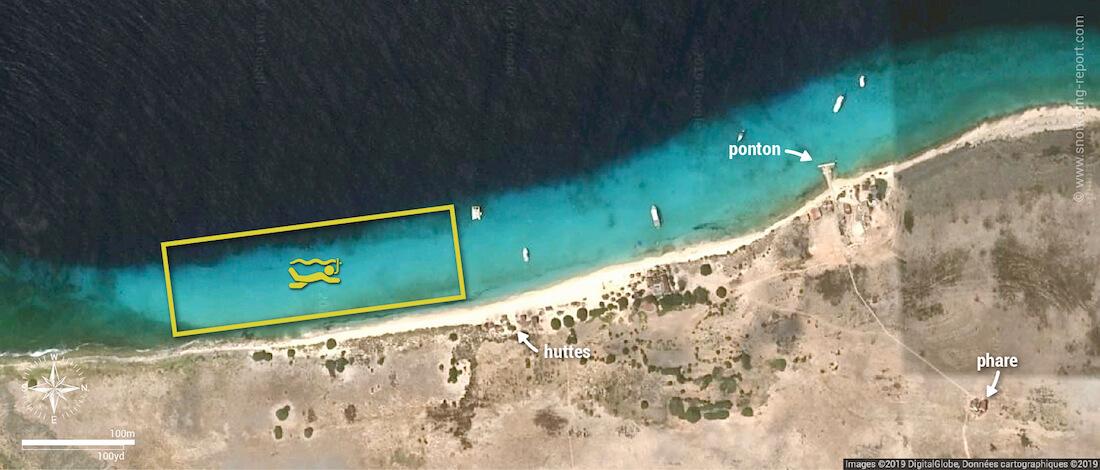 Carte snorkeling à Klein Curaçao