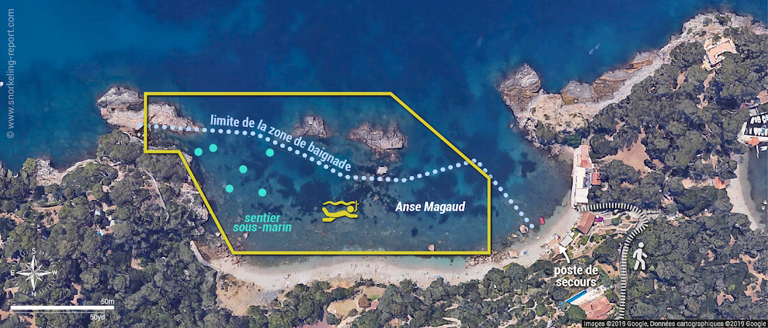 Carte snorkeling au sentier sous-marin de l'Anse Magaud, La Garde