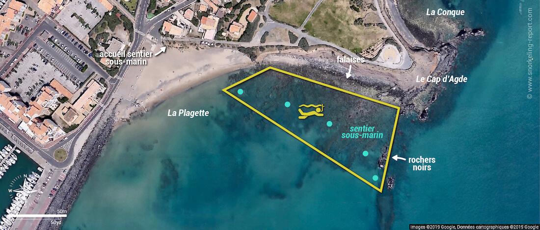 Carte du sentier sous marin du Cap d'Agde, la Plagette